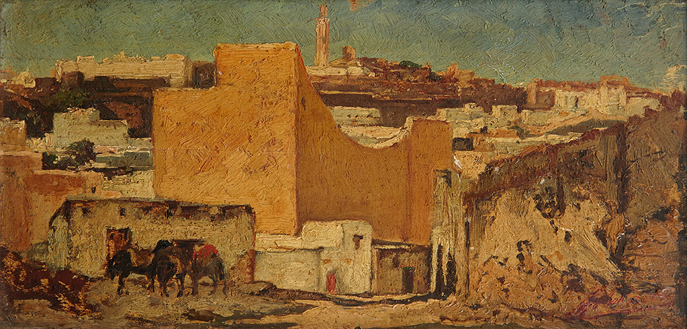 Georges Jules Victor CLAIRIN (1843-1919) - Ville orientale - Huile ...