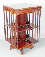 biblioth que tournante anglaise en acajou filets de bois de rose et bijoux argenterie. Black Bedroom Furniture Sets. Home Design Ideas