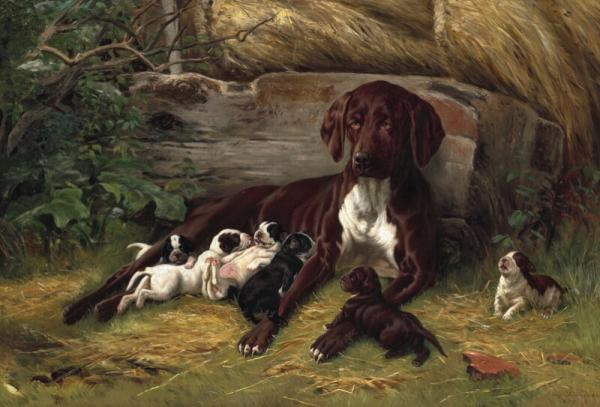 Simon Simonsen: A pointer with her puppies. Signed and dated Simon Simonsen 1879. [...]