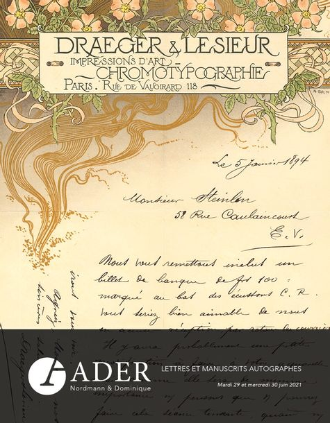Vente Lettres et Manuscrits Autographes - Partie 1 chez Ader : 288 lots