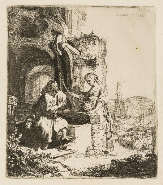 Rembrandt van Rijn (1606-1669) Christ and the Woman of Samaria among Ruins