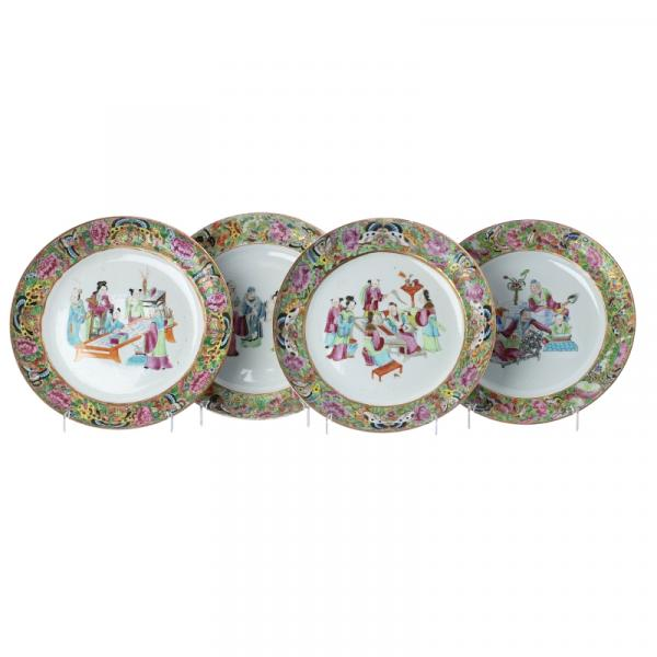 Four Chinese Mandarin Chinese plates, Daoguang - China, 19th century, Daoguang, [...]
