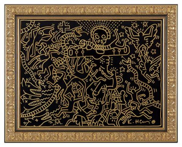 Keith HARING (1958-1990)  Erotic drawing in gold felt on black matte paper, circa [...]