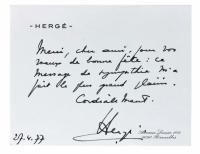 Carte De Visite Autographe DHerge