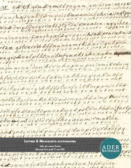 Vente Lettres & Manuscrits Autographes chez Ader : 375 lots