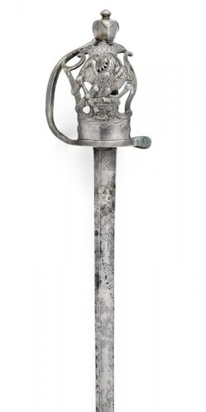 A rare Prussian silver-plated broadsword for a cavalry officer c 1740-50. -