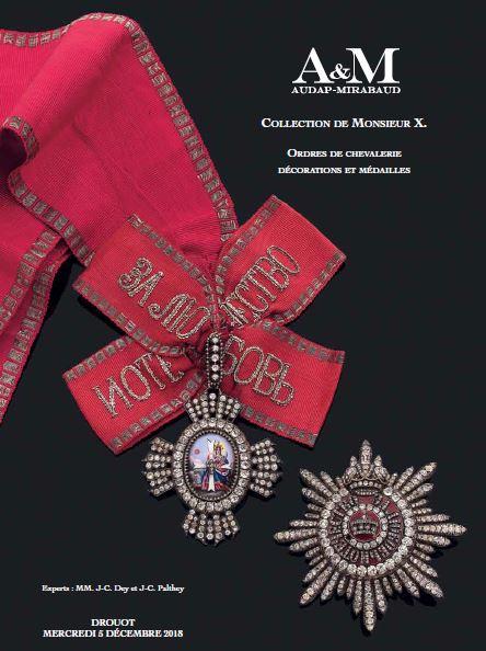 Vente Collection de Monsieur X - Ordres de Chevalerie chez Audap & Mirabaud : 393 lots