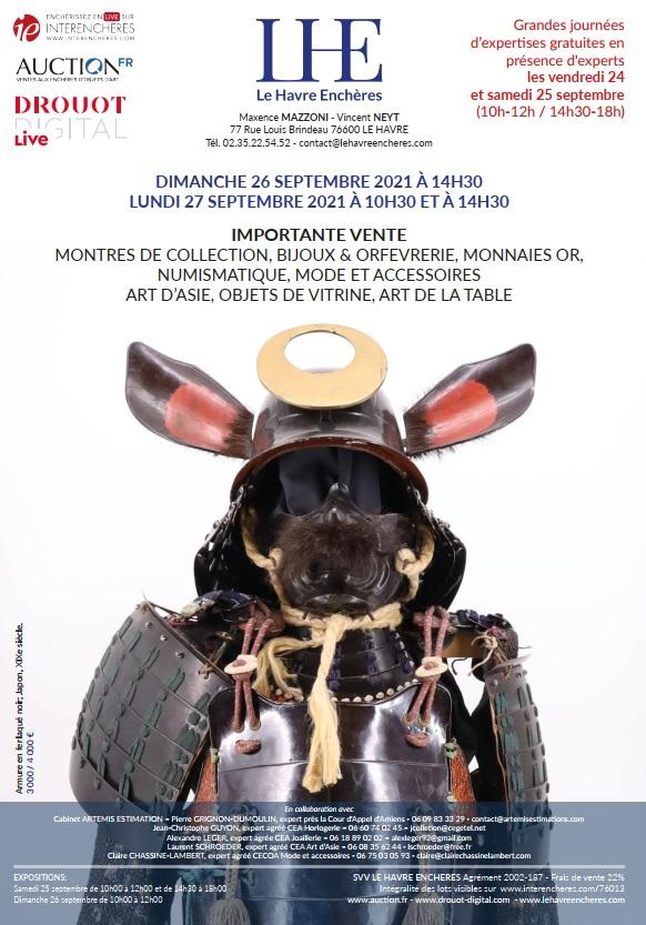 Vente  MONNAIES OR & NUMISMATIQUE - EPEES - OBJETS DE VITRINE & ART DE LA TABLE - ARTS D'ASIE  chez Le Havre Enchères : 388 lots