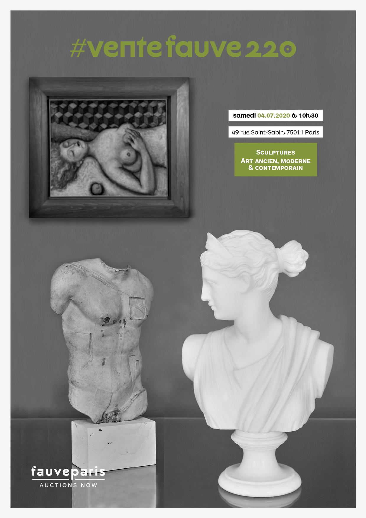 Vente #VenteFauve220 : Sculptures • Œuvres d'Arts ancien + moderne + contemporain chez FauveParis : 94 lots
