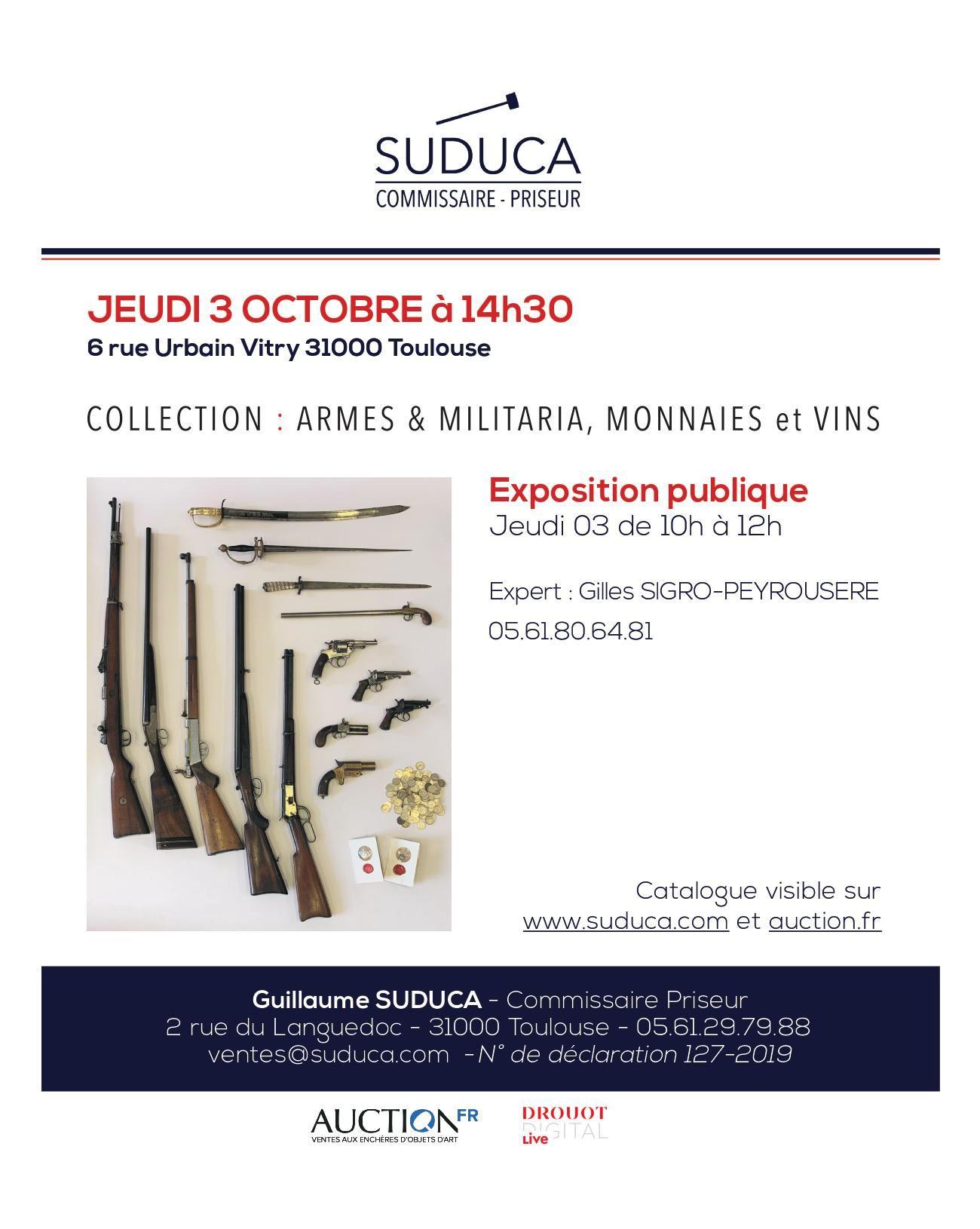 Vente Collection : Armes & Militaria, Monnaies et Vins chez Suduca Commissaire-Priseur : 195 lots