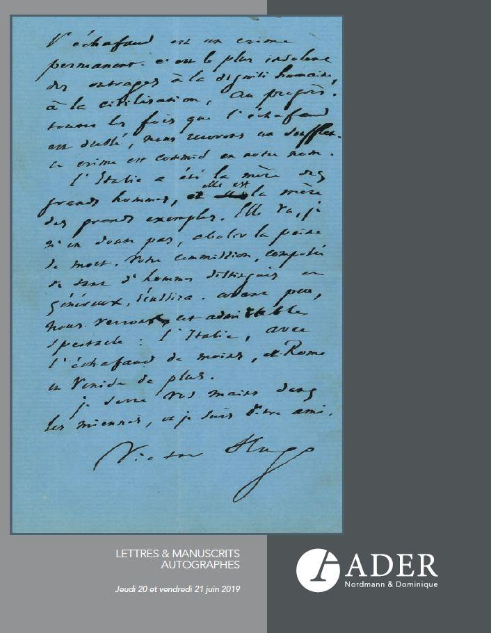 Vente Lettres & Manuscrits Autographes chez Ader : 260 lots