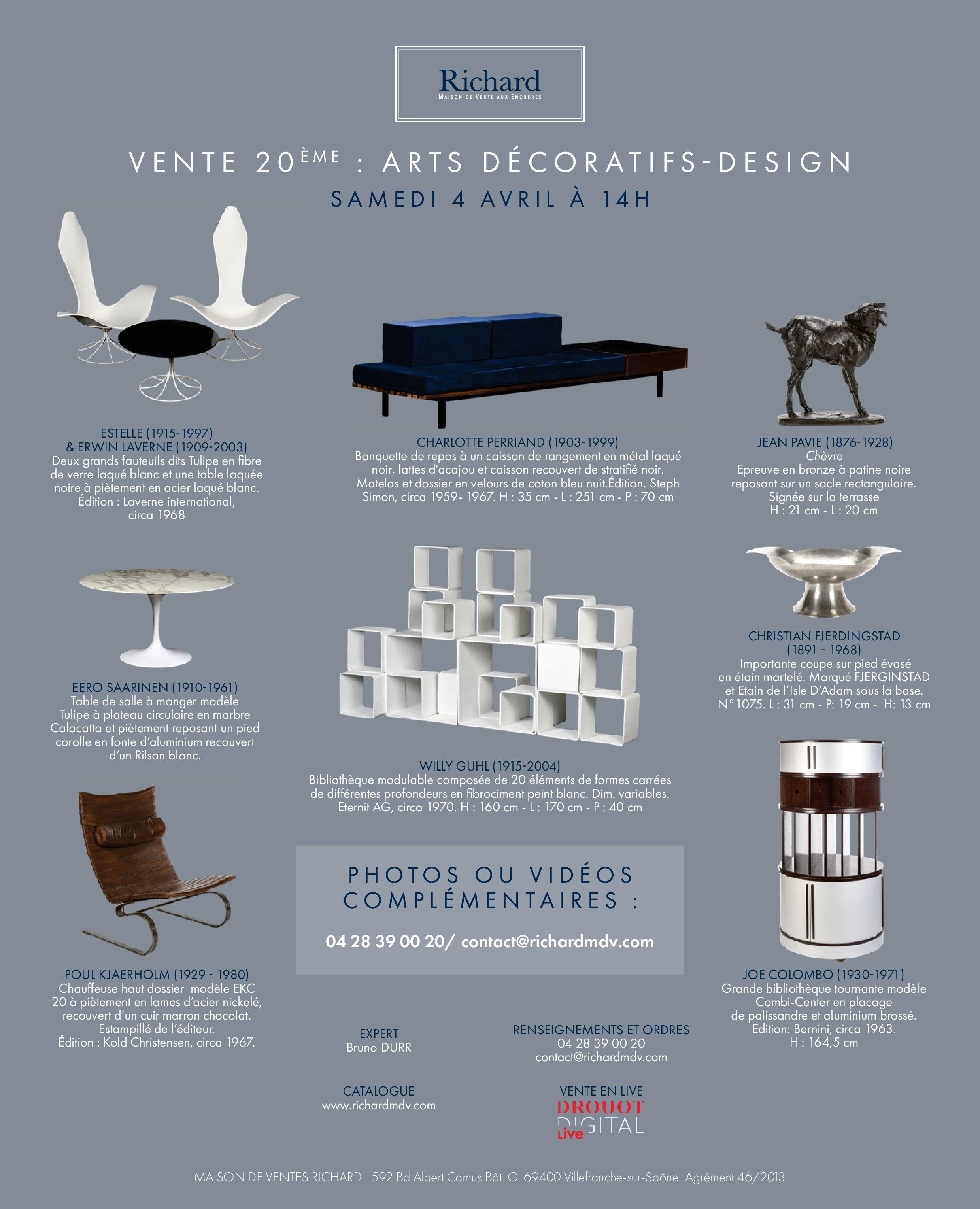 Vente Vente 20ème : Arts Décoratifs, Design chez Maison de ventes Richard : 260 lots