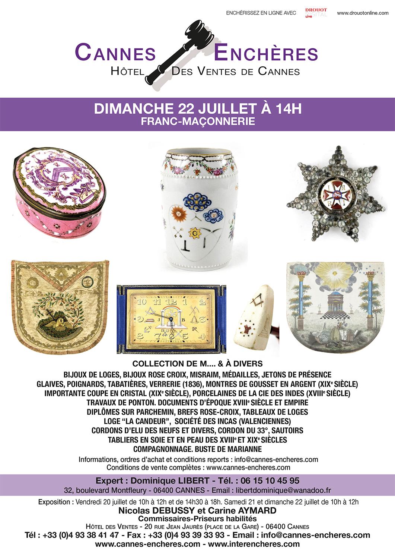 Vente Franc-Maçonnerie chez Cannes Enchères : 79 lots