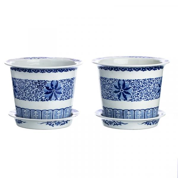 Rare pair of flower vases with their bases in Chinese porcelain, Guangxu / Minguo - [...]