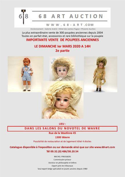 Vente Importante Vente de Poupées et de Jouets anciens chez 68 Art Auction : 317 lots