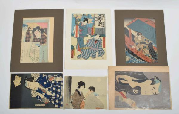 [Asian arts & photography] [Japan] 6 colour woodblock prints: (1) Yoshiiku [...]