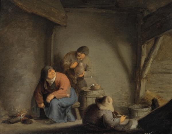 Adriaen van Ostade, circle of, 17th century: Peasants drinking and smoking in an inn. [...]