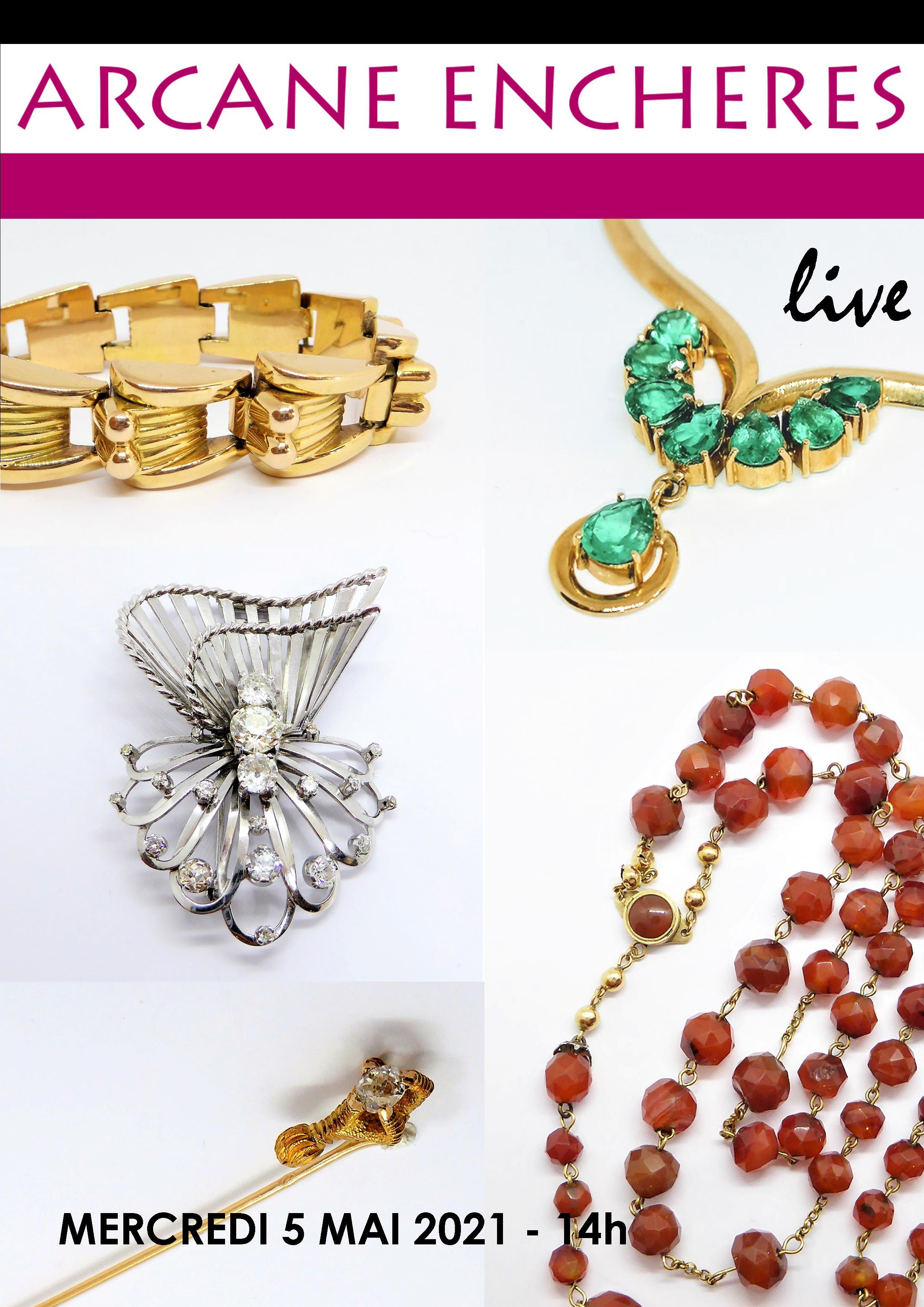Vente Bijoux Anciens et Modernes, Mode et Accessoires, Argenterie, Montres, Pierres Précieuses chez ARCANE ENCHERES : 396 lots