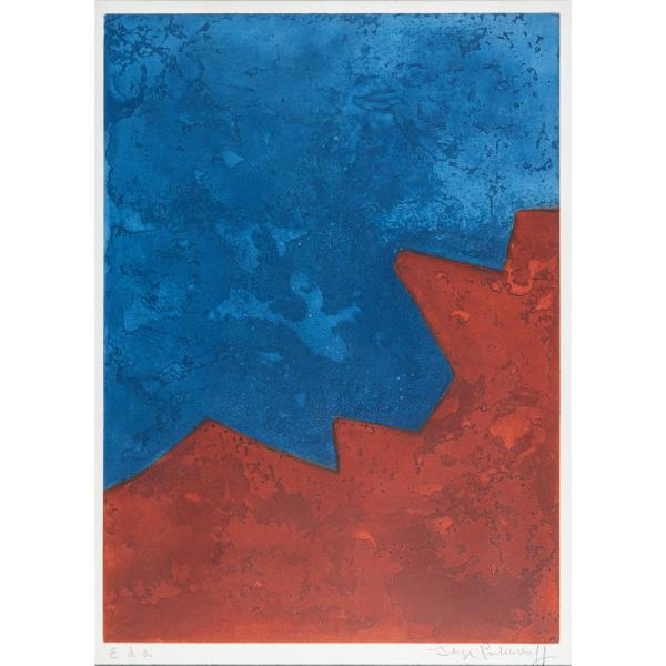 SERGE POLIAKOFF (1900-1989)  - COMPOSITION EN ROUGE ET BLEU, 1967  - Aquatinte en [...]