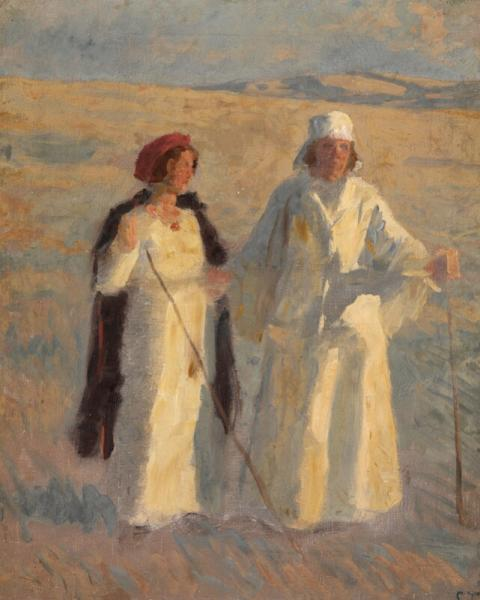 Laurits Tuxen: Two women in the evening sun. Frederikke Tuxen and presumably her [...]