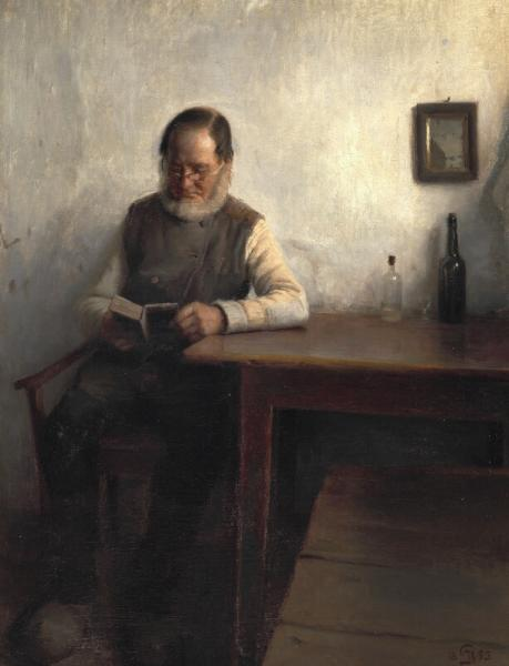 Peter Ilsted: A man reading. Signed with monogram and dated 1893. Oil on canvas. 67 x [...]