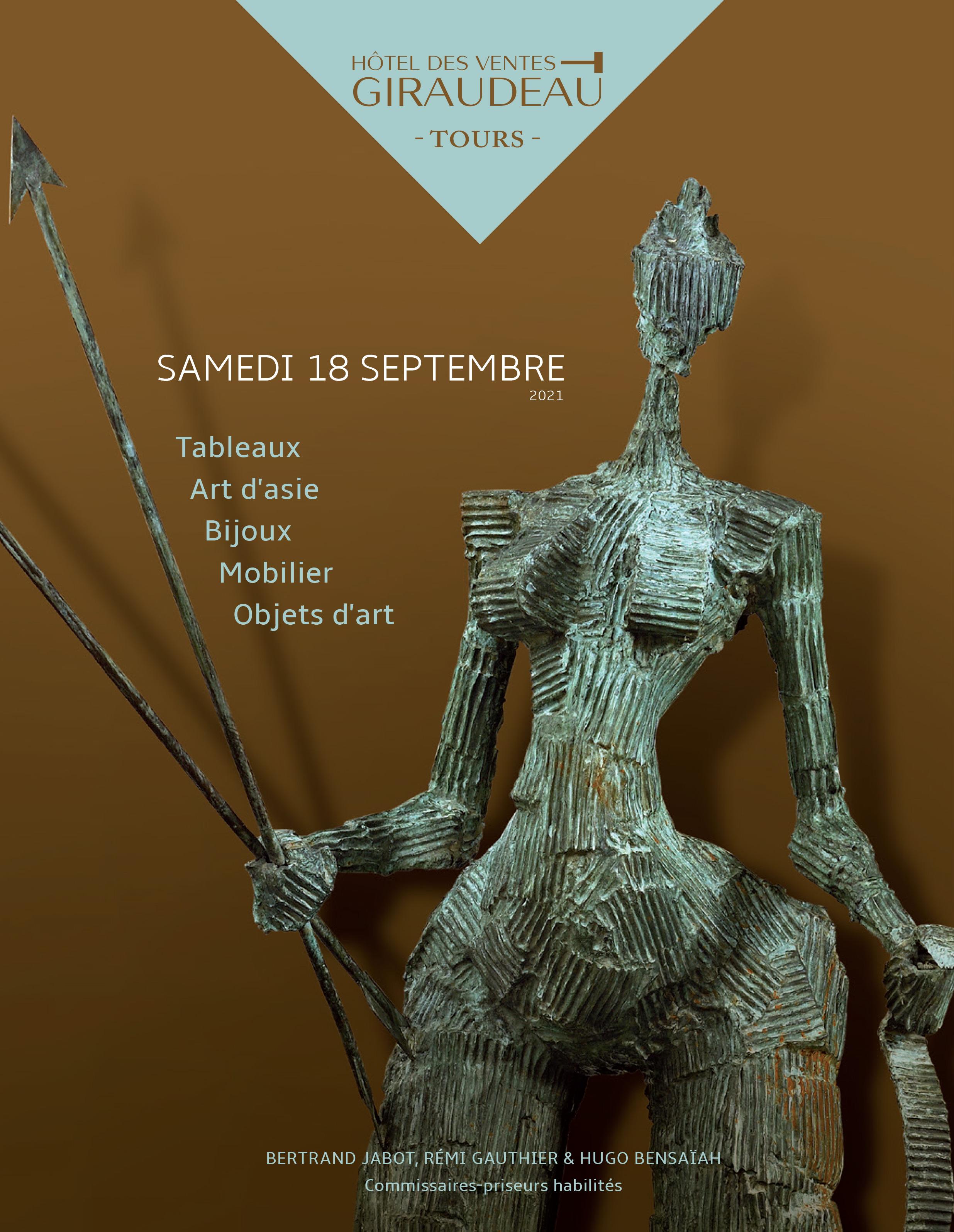 Auction Tableaux, Arts d'Asie, Bijoux, Mobilier, Objets d'Art at Hôtel des Ventes Giraudeau : 340 lots