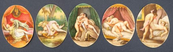 (French school - Erotica) - Five erotic miniatures. Ca. 1780 Watercolour, ivory, oval [...]