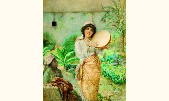 Lot 248   Luigi Maggiorani (19e-20e siècle) - École italienne - Jeune fille  au tambourin 10d05656dd7