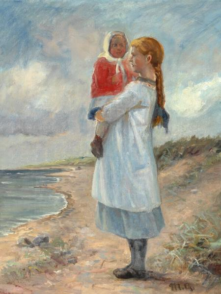 Michael Ancher: Two siblings on Skagen beach. Signed M. A. Oil on canvas. 51 x 39 cm. -