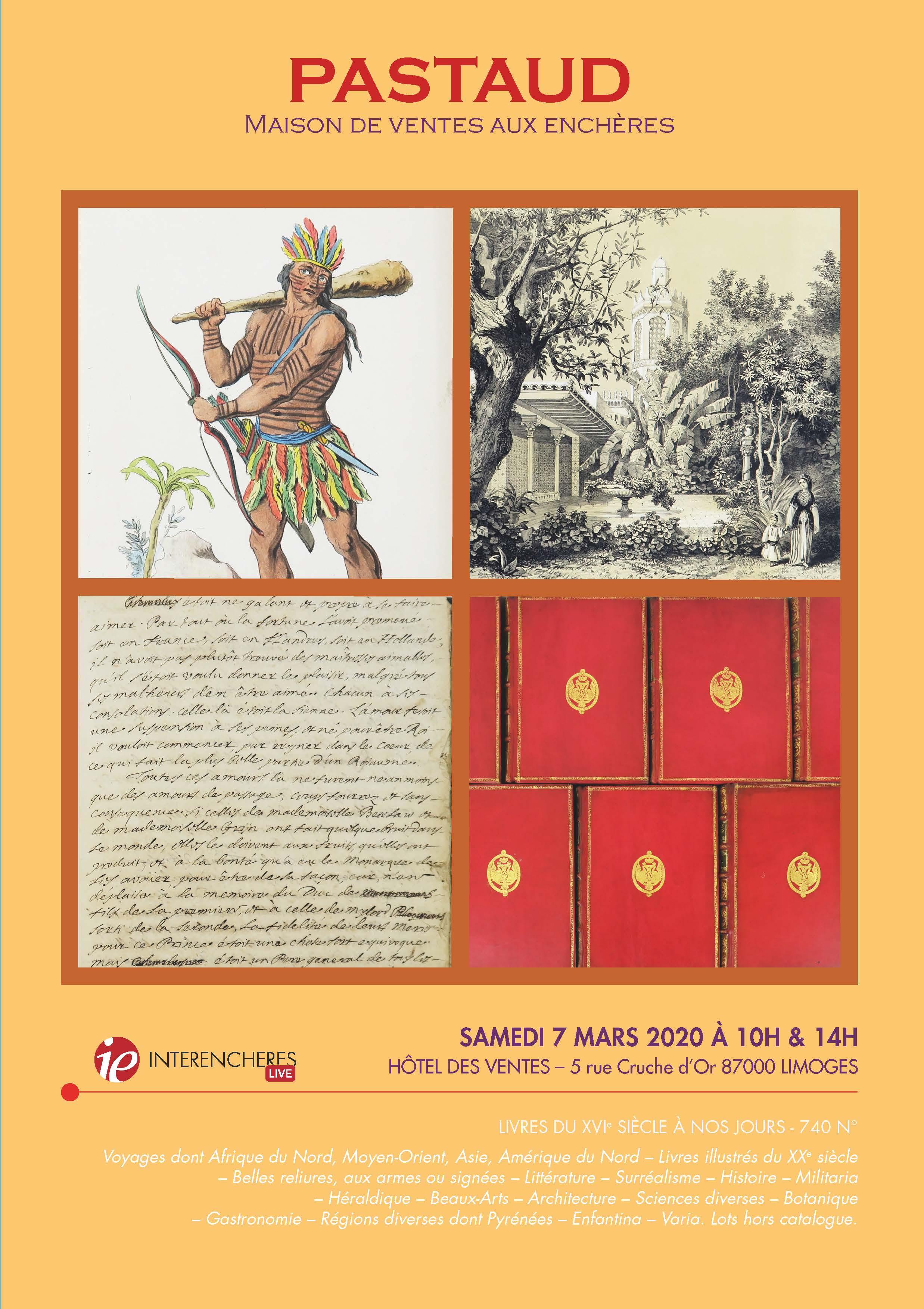 Vente Livres du XVIe siècle à nos jours chez PASTAUD Maison de Ventes aux Enchères : 740 lots