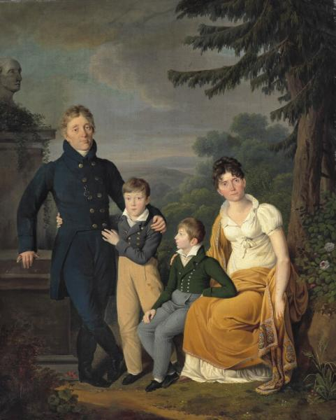 Painter unknown, early 19th century: Portrait of a family in a landscape. Unsigned. [...]