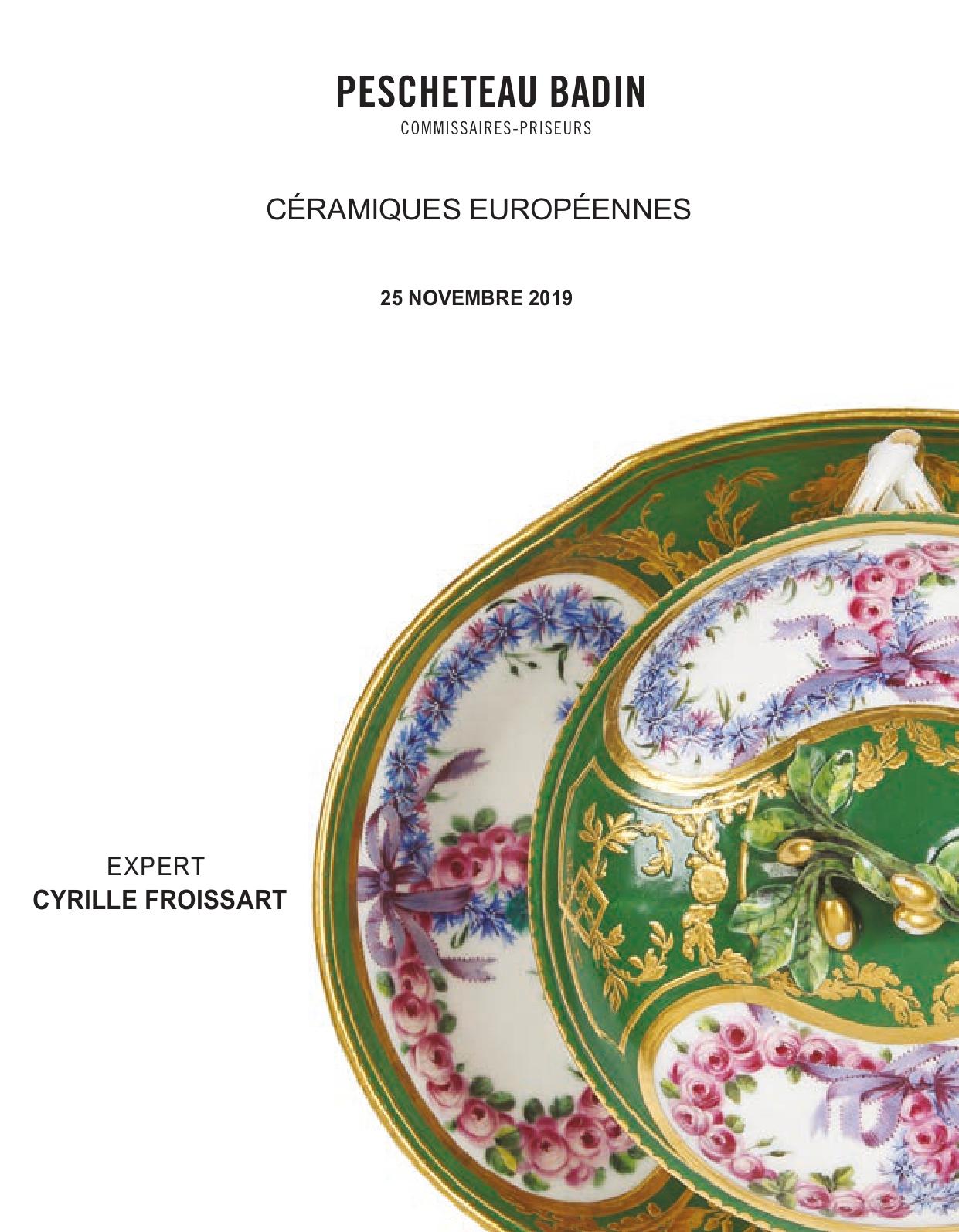 Vente Céramiques Européennes chez Pescheteau-Badin : 382 lots