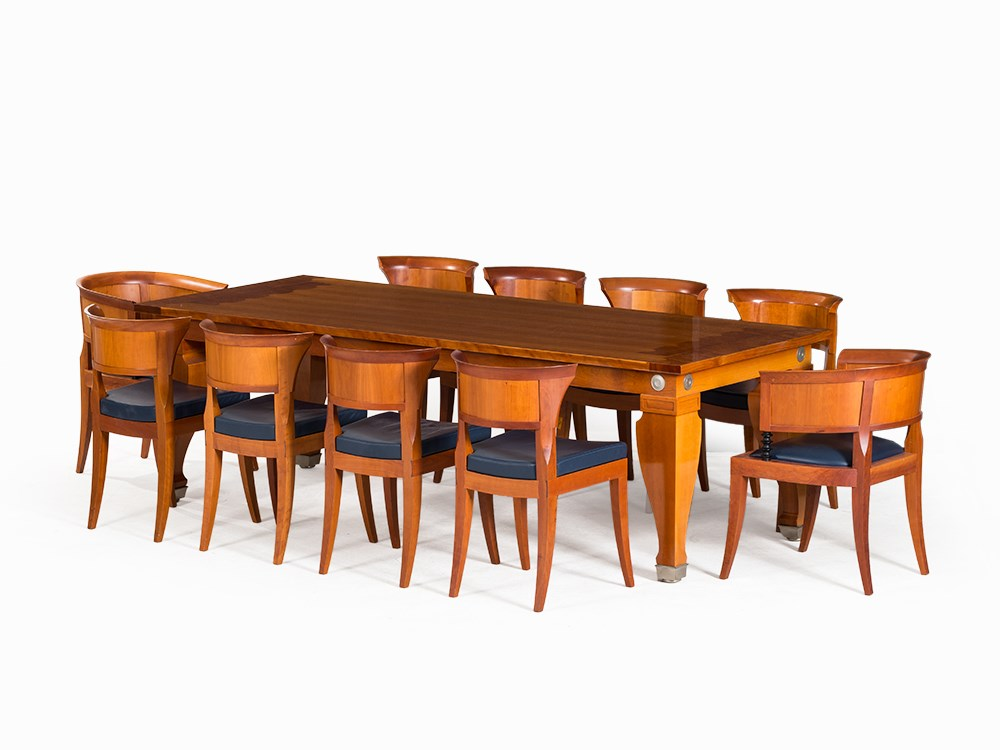 Leon Krier Dining Table With 10 Chairs Giorgetti Italy 1991