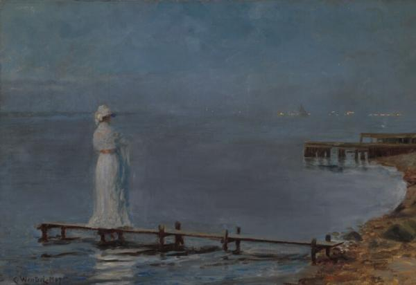 Carl Wentorf: Midsummer evening. Signed and dated Carl Wentorf 1907. Oil on canvas. [...]