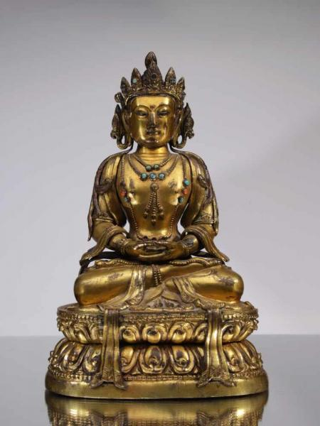 BUDDHA AMITAYUSCopper fire gilt with turquoiseChina , 15th centuryDimensions: Height [...]