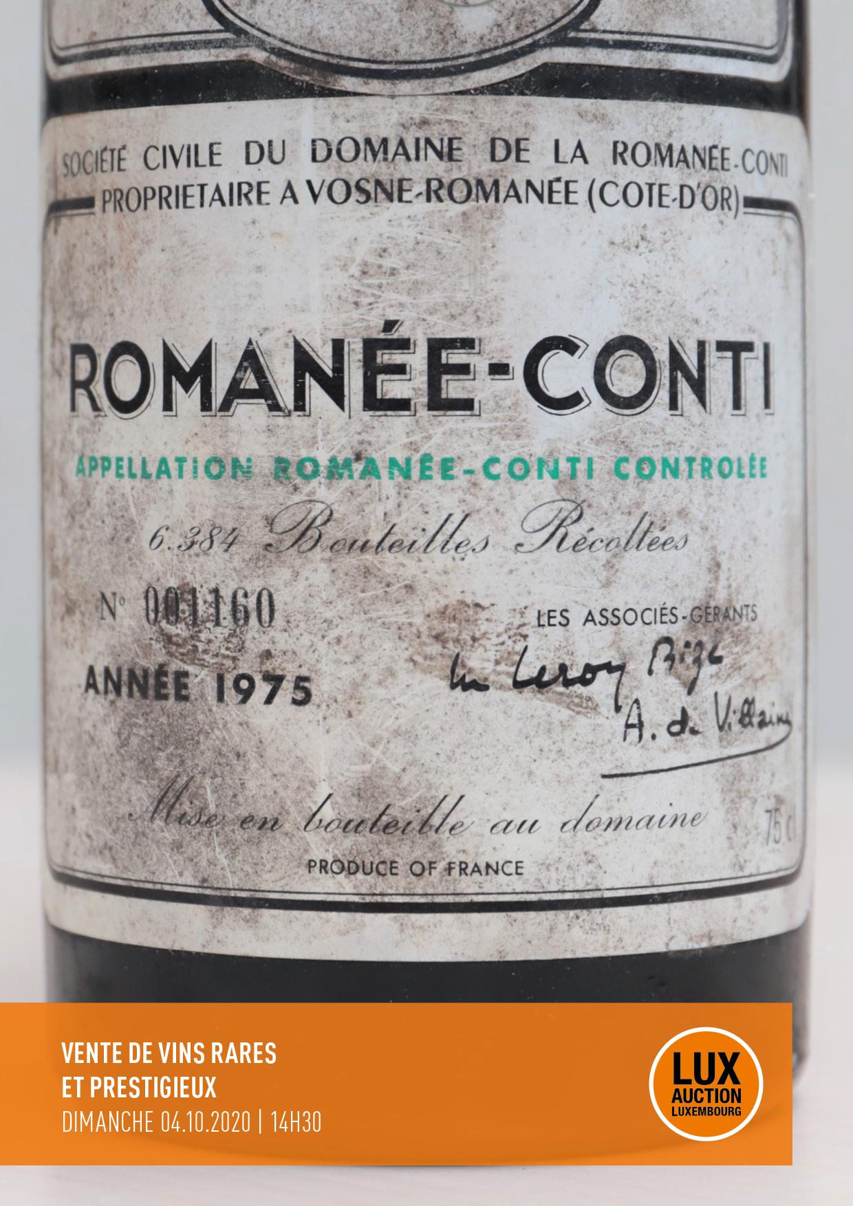 Vente Vins rares et prestigieux chez Lux-Auction : 229 lots