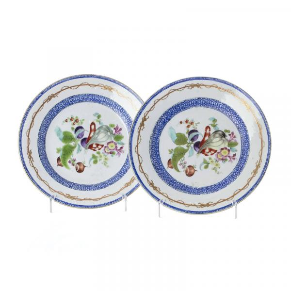 Pair of Chinese porcelain fruit plates, Daoguang - China export porcelain, Daoguang, [...]