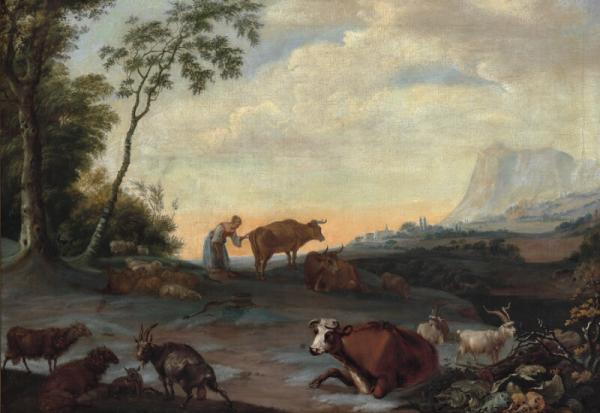 Johann Heinrich Roos: A pastoral landscape with a shepherdess with cattle and goats. [...]