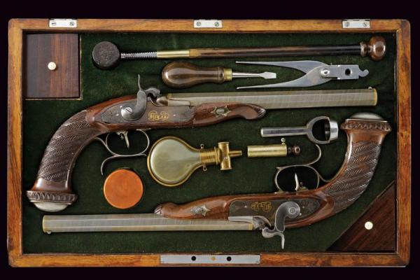 A rare cased pair of percussion target pistols by Alexey Babyakin - dating: 1840 [...]