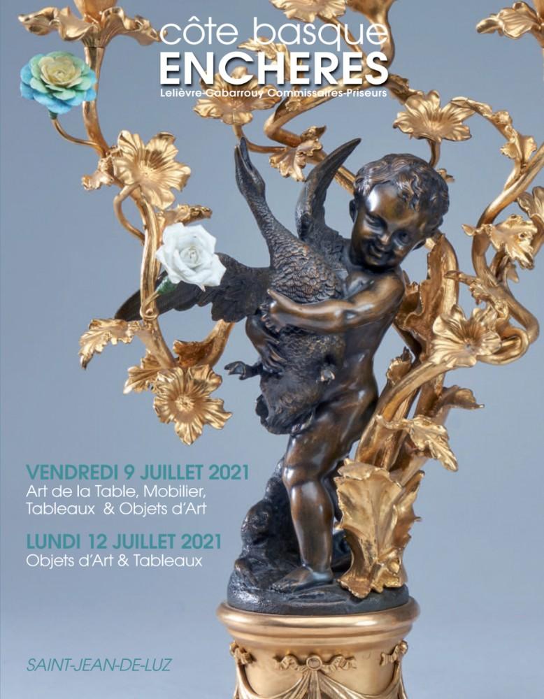 Vente Prestige : Art de la Table, Mobilier, Tableaux & Objets d'Art chez Côte Basque Enchères : 300 lots