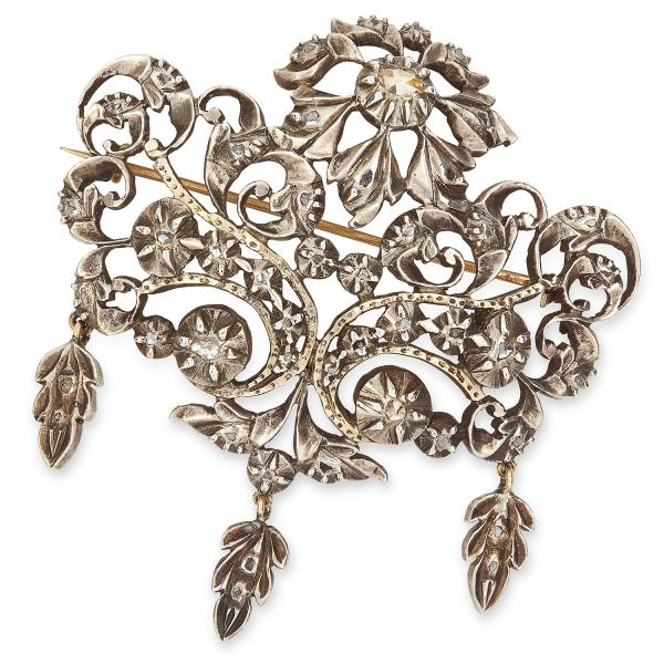 ANTIQUE GEORGIAN DIAMOND BROOCH in open foliate design set with rose cut diamonds, [...]