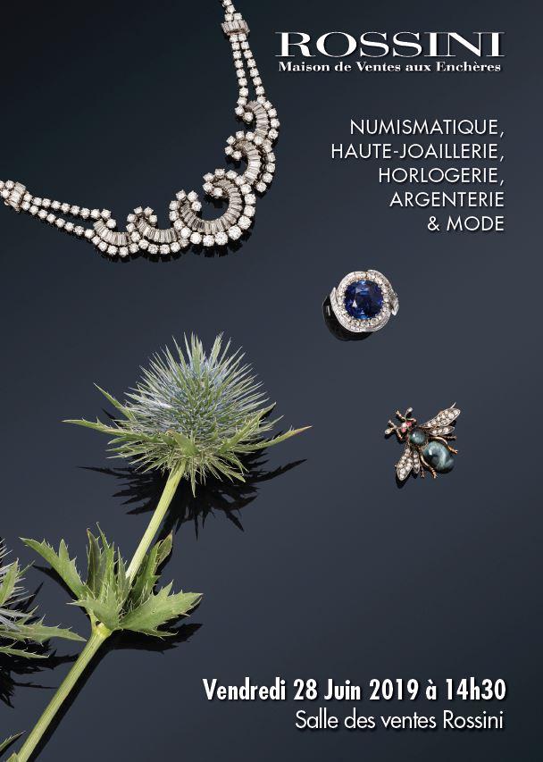 Vente Numismatique, Haute Joaillerie, Horlogerie, Argenterie & Mode chez Rossini : 222 lots