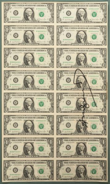 Andy Warhol - '16 One Dollar Notes (uncut)', 1981 - 16 uncut One Dollar notes. 53.0 x [...]