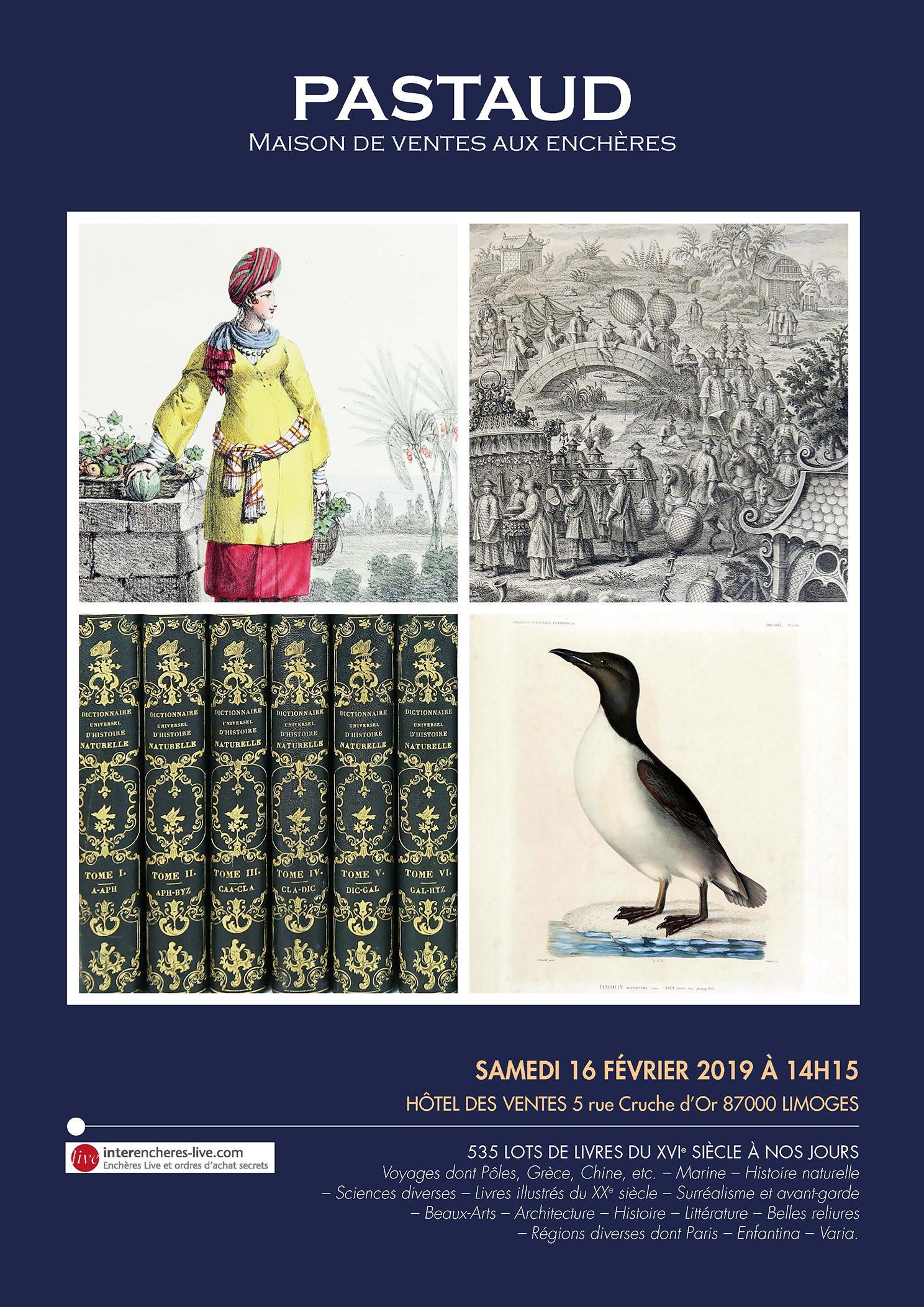 Vente 535 lots de Livres du XVIe siècle à nos jours chez PASTAUD Maison de Ventes aux Enchères : 533 lots