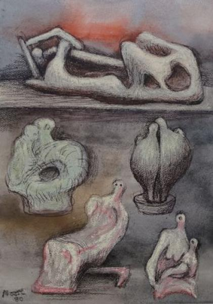 Henry Moore -Composition, 1983 50x40cm including the mat, signed in print Fabriano [...]