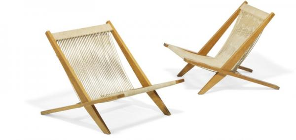 Poul Kjærholm, Jørgen Høj: A pair of easy chairs with patinated ash wood frame. [...]