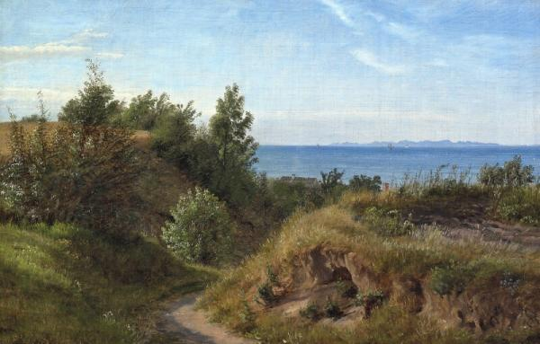 P. C. Skovgaard: A Danish coast, summer. Signed with monogram and dated 1850. Olie [...]