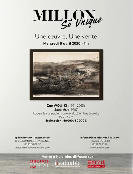 Vente So Unique Une Oeuvre, Une Vente ZAO WOU-KI (1921-2013) chez Millon et Associés Paris : 1 lots