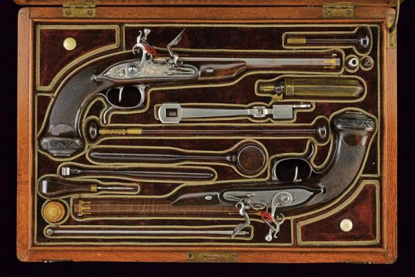 A beautiful cased pair of flintlock pistols by Pierre-Nicolas Boutet - dating: about [...]