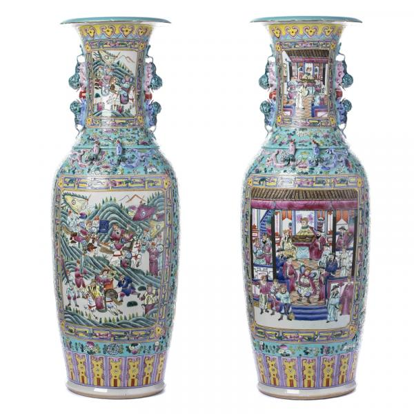 Pair of Large Chinese Porcelain Warrior Floorstanding Vases, Tongzhi - China [...]